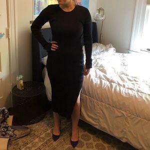 H&M navy ribbed dress
